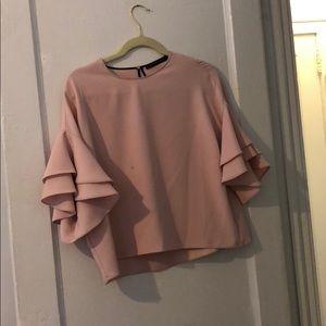 Flounce light pink blouse